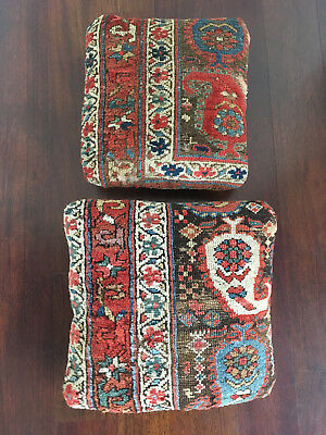 Rare Vtg Pair Antique 19th Century Large Persian Rug Pillow - Hollywood Regency