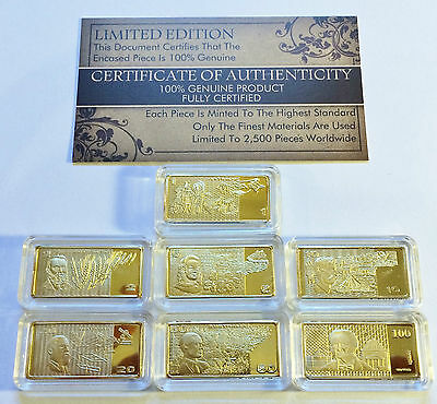 "Certified Set of 7 x 5 gram ""Old Aust Note Series"" Finished in 999 24 k Gold"