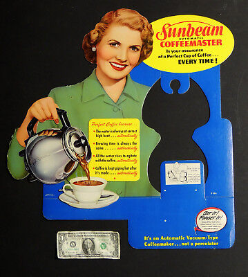 "vtg 1940s SUNBEAM Coffeemaster 23"" Store Display SIGN 3-D Coffee Pot Kitchen NOS"