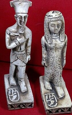 Lot of 2 Egyptian Statues Natural Carved Stone Queen Cleopatra, King Tutankhamen