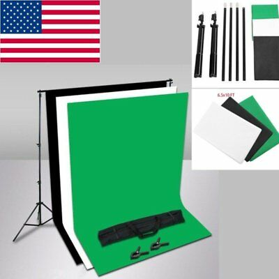 6.5*10FT Photography Studio Black White Green Backdrop Background Stand Kit Set