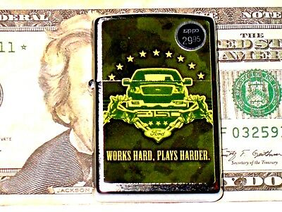 New Zippo USA Windproof Oil Lighter Ford F 150 Truck Works Hard Plays Harder 4x4