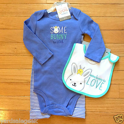 JustOneYou by Carter's Baby Some Bunny to Love-3 Piece Set- bodysuit, pant, bib