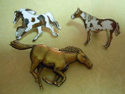 3 Small Enamel Wild Horse Jewelry Pins - See Photos For Style --- Nice ---