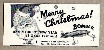 1958 Print Ad Bomber Bait Fishing Lures Merry Christmas Gainesville,TX