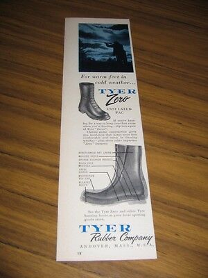 1958 Print Ad Tyer Rubber Zero Insulated Pac Hunting Boots Andover,MA