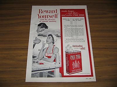 1954 Print Ad Pall Mall Cigarettes Happy Couple at Beach