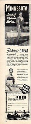 1950 Print Ad Minnesota Tourist Information Fishing's Great
