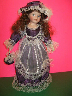 """Collectors Choice DAN DEE Porcelain 16"""" Collectible Victorian Doll w/stand Nice!"""