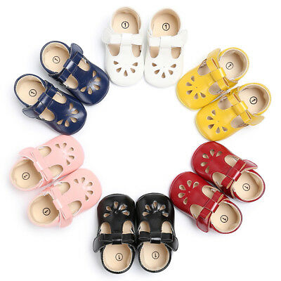 Newborn Baby Boy Girl Soft Sole T- Bar Pram Shoes Toddler Mary Jane Shoes  New