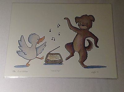 Duck and Dog Dancing 8 x 10 Print Digital Watercolor Reproduction Child Baby