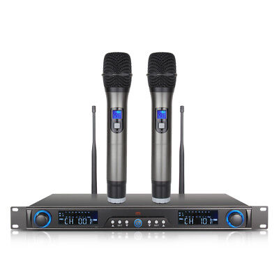 Wireless Microphone System UHF 200 Channel 2 Cordless Handheld Mic home Karaoke