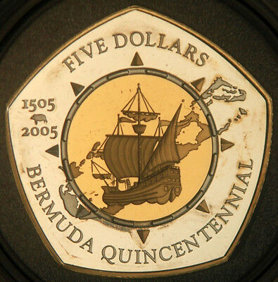 Bermuda $5 Silver Proof 5 Dollars 2005 (Quincentennial 1505-2005) Mintage: 2,500