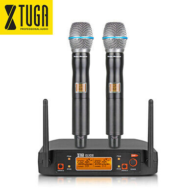 Wireless Microphone System UHF 2 Cordless Handheld Dynamic 2 Mics with case