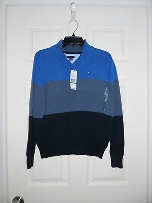 NWT $49.50 Tommy Hilfiger Boys Blue Gray Stripe 1/4 Zip Sweater Size Large 16 18