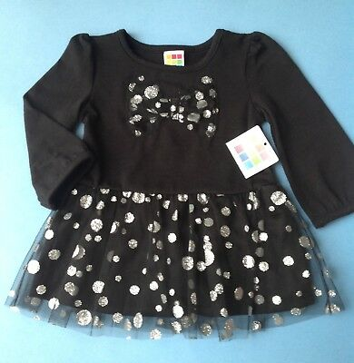 Healthtex Girls Tunic Size 18m Black Silver Tulle Glitter Tutu Party Holiday New
