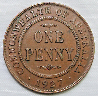 1927 KGV AUSTRALIAN PENNY - EF??  Circulated Coin - GREAT INVESTMENT