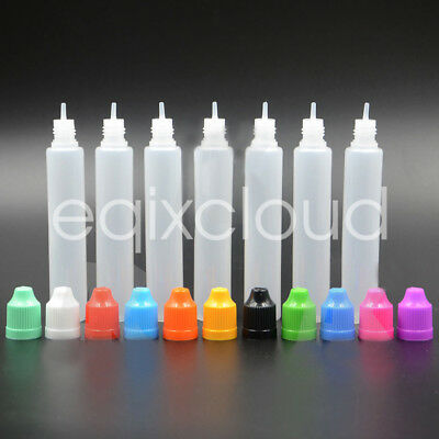 30ml 60ml Empty Plastic Unicorn Long Dropper Bottles Tip Childproof Cap LDPE