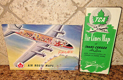 TCA Airlines Map Trans-Canada 1947 + Air Route Map Pamphlet Lot of 2 Collectible