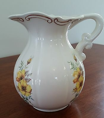 VICTORIAN Reproduction CREAM Porcelain VANITY JUG Yellow Gold FLORAL Pattern