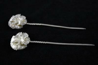 Vintage Chinese 925 Sterling Silver Filigree Floral Handmade Hair Pins