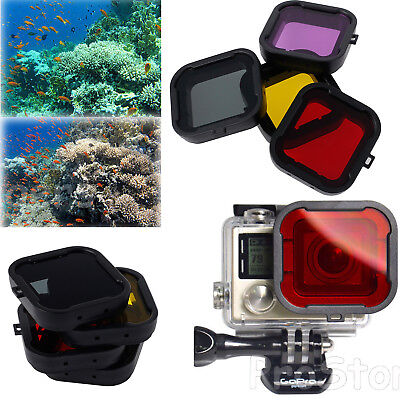 4PCS Red Yellow Purple Grey Diving Photo Filter Lens For GoPro Hero 4 Hero3+ US