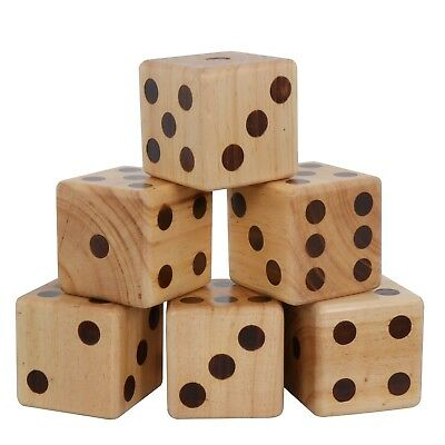 Giant Wooden Yard Dice Set Large Dice Game With Bag For Lawn Family Outdoor Fun