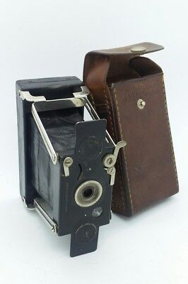 1910s Vintage British made Houghtons ENSIGNETTE Camera w/leather case