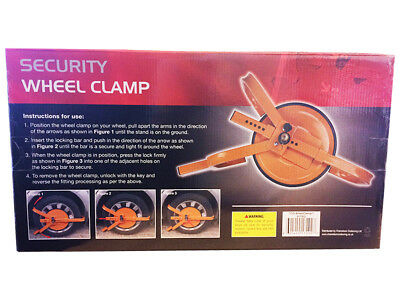 Heavy Duty Steel Car Van Wheel Clamp Safety Lock Caravan Trailer 13 14 15 inch