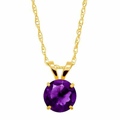 3/4 ct Natural Amethyst Round-Cut Solitaire Pendant in 10K Gold