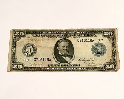 1914 $50 Fifty Dollar Large Bill Federal Reserve Note Washington D.C.