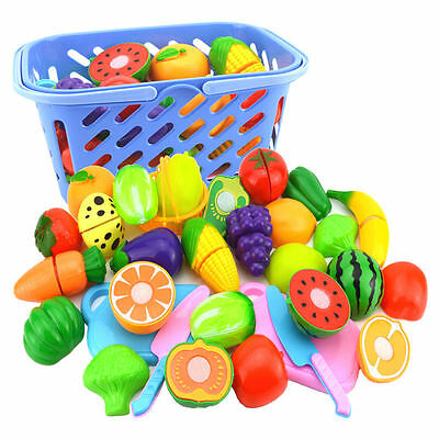 Kids Kitchen Fruit Vegetable Food Pretend Role Play Cutting Set Toys Affordable&