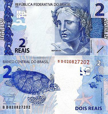 BRAZIL 2 Reals Banknote World Paper Money UNC Currency Pick p252a Turtle Note