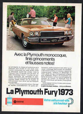 1973 PLYMOUTH Fury Vintage Original Print AD - Brown muscle car photo canada