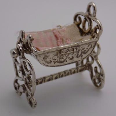 Vintage Solid Silver Italian Made Dollhouse Swinging Crib Miniature, Stamped
