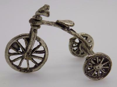 Vintage Solid Silver Italian Made Tricycle Miniature, Dollhouse, Stamped