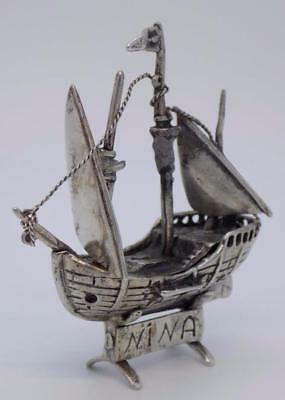 Vintage Solid Silver Italian Made Columbus Caravel Ship Miniature, Stamped