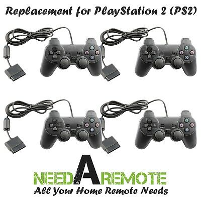 4X Black Twin Shock Game Controller Joypad Pad for Sony PS2 Playstation 2