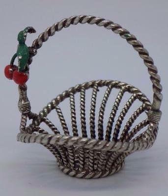 Vintage Solid Silver Italian Made Cherry Basket Miniature, Figurine, Stamped*