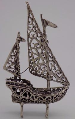 Vintage Solid Silver Italian Made Sailing Ship Miniature, Figurine, Stamped