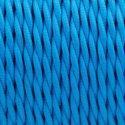 Blue 3Core Twisted Italian Style Electric Cable Braided Fabric Flex Light 0.75mm