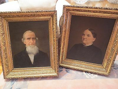 Antiqu Two Portraits 19th Century American Folk Art Old Man & Woman Oil Painting