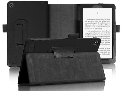 Black Flip Leather Case Cover For All New Amazon Kindle Fire 7 2017 Tablet