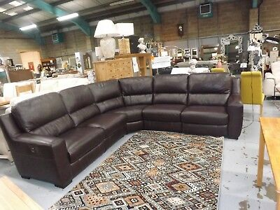 Astounding Rodeo Brown Leather Electric Reclining 5 Part Corner Sofa Theyellowbook Wood Chair Design Ideas Theyellowbookinfo