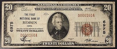 1929 $20.00 National Currency, from The First National Bank of Remsen, Iowa!