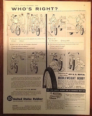 United States Rubber tires ad 1957 1950s illustration art retro boys bicycles