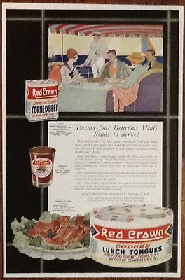 Red Crown lunch tongues ad 1919 vintage original 1920s art decor flappers deco