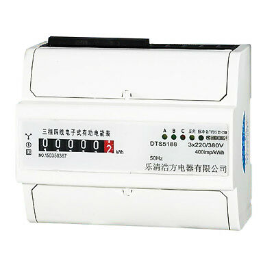80A, 3 Phase 4 Wire Din Rail KWH Watt Hour Din-Rail Energy Meter Intelligent