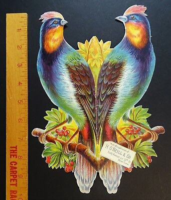 SUPER RARE Advertising Catalog Booklet Folding Bird Double Trade Card 1880 Hats