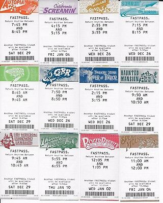 Lot of 12 Disneyland & California Adventure Fastpass Rare Discontinued Retired